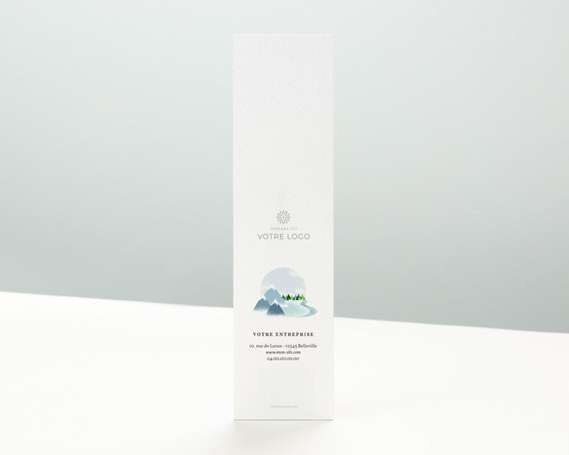 Carte de Voeux Entreprise Noel Signet Meilleurs Voeux, Montagnes enneigées, 5,5 x 21 cm pas cher