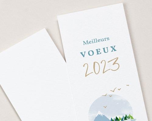 Carte de Voeux Entreprise Noel Signet Meilleurs Voeux, Montagnes enneigées, 5,5 x 21 cm gratuit