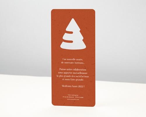 Carte de Voeux Entreprise Originale Découpe Sapin de Noël, Rouge Festif pas cher