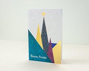 Carte de Voeux Entreprise Traditionnelle Forêt enneigée de Noël, Sapins dorés - Artik Collection