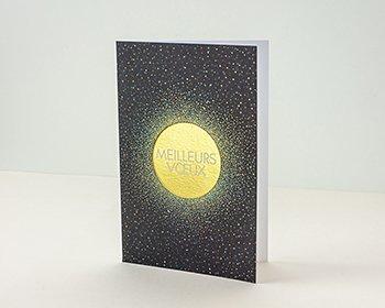 Carte de Voeux Entreprise Traditionnelle Soleil de Minuit, Voûte étoilée & dorure - Artik Collection