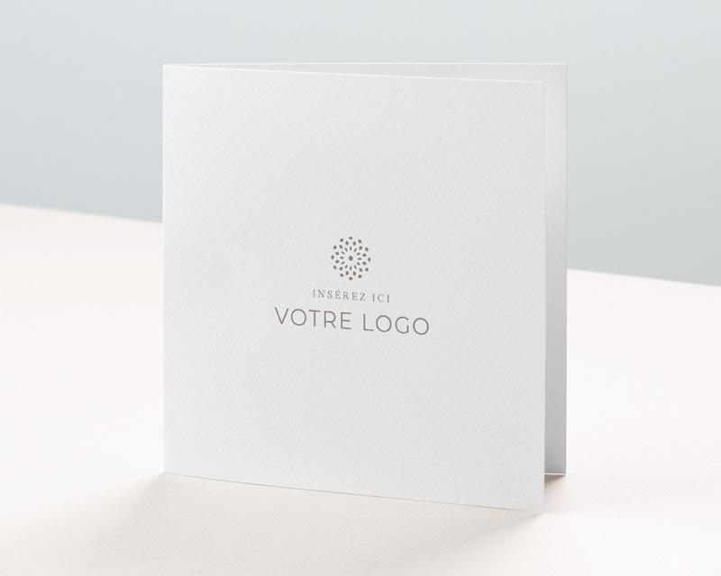 Carte de voeux avec logo d'entreprise 100% Création, Carré double volet, 14 x 14 cm