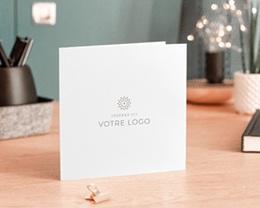 Carte de voeux avec logo d'entreprise 100% Création, Carré double volet, 14 x 14 cm gratuit