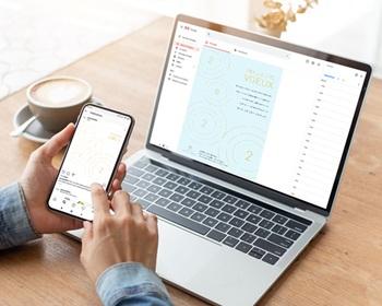 Carte Virtuelle Réseaux Sociaux Ondes dorées, Rayonnements positifs, Post Réseaux Sociaux