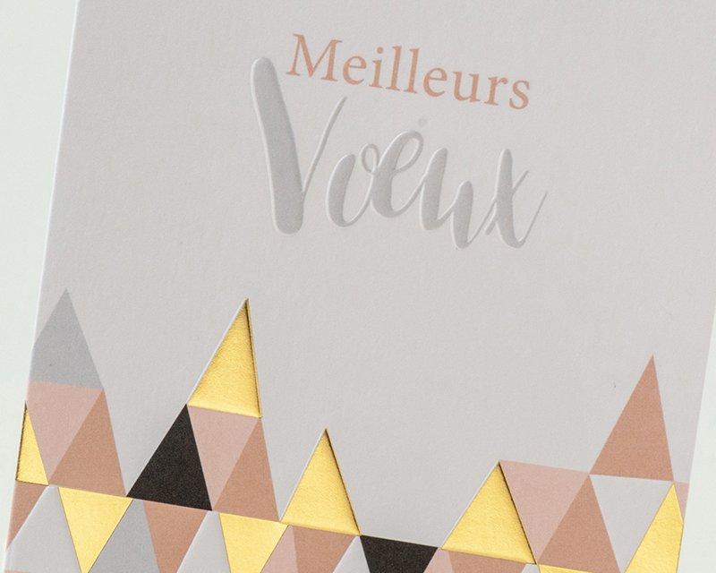 Carte de Voeux Entreprise Traditionnelle Jeux de Triangles Or, Noir, Blanc, Rose - Artik Collection pas cher