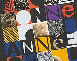 Carte de Voeux Entreprise Traditionnelle Bonne année graphique, jeu de lettrages - Artik Collection pas cher