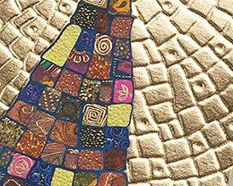 Carte de Voeux Entreprise Traditionnelle Patchwork coloré & Pavage doré relief - Artik Collection pas cher