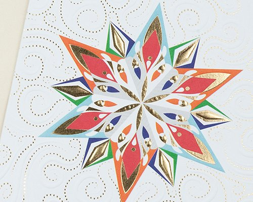 Carte de Voeux Entreprise Traditionnelle Etoile de Noël Flambloyante, Gaufrage & Dorure - Artik Collection pas cher