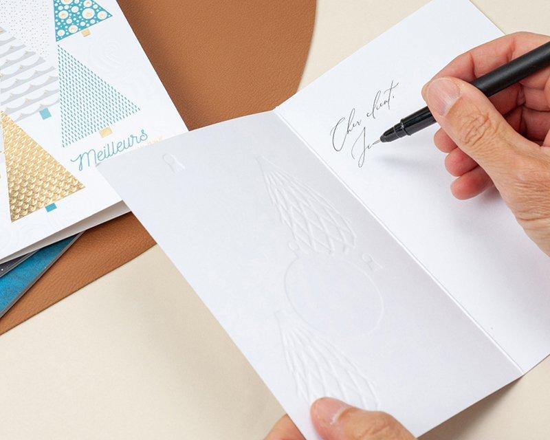 Carte de Voeux Entreprise Traditionnelle Etoile de Noël Flambloyante, Gaufrage & Dorure - Artik Collection