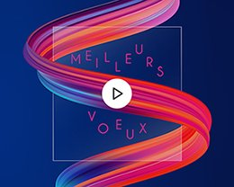 Carte Virtuelle Vidéo Ruban multicolore, Fond Bleu