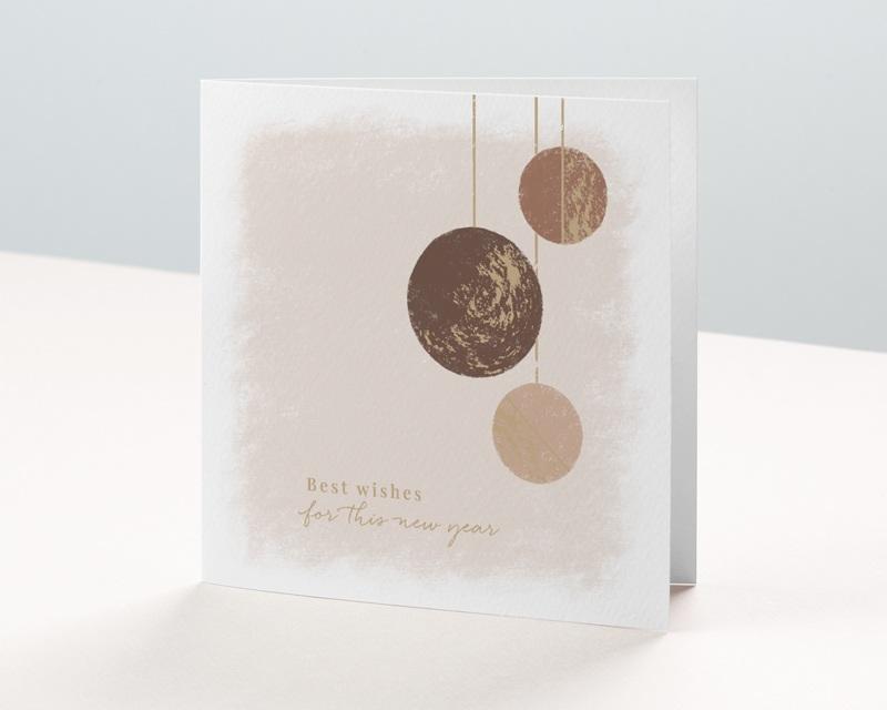 Carte de voeux avec logo d'entreprise Boules de Noël, Terracotta & Dorure