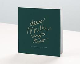 Carte de Voeux Entreprise Année calligraphiée & dorée