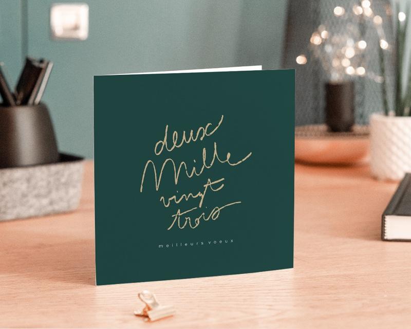 Carte de Voeux Entreprise Année calligraphiée & dorée gratuit