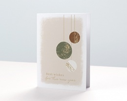 Carte de voeux avec logo d'entreprise Boules de Noël, Kaki, Choco & Dorure