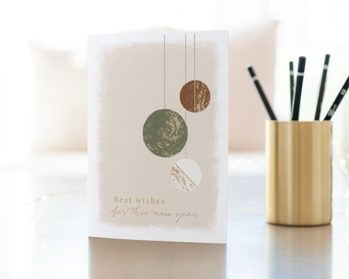 Carte de voeux avec logo d'entreprise Boules de Noël, Kaki, Choco & Dorure gratuit