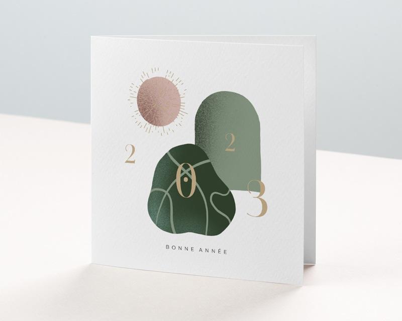 Carte de voeux avec logo d'entreprise Trio de formes, Tons nude & vert