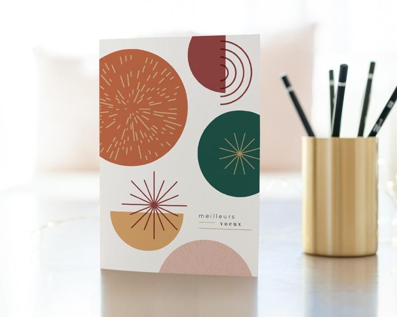 Carte de voeux avec logo d'entreprise Cercles colorés & Festifs gratuit