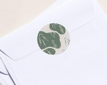 Autocollant Enveloppe Entreprise Personnalisé Sapins de Noël, Texture Vintage, Sticker