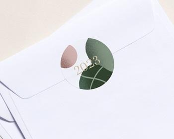 Autocollant Enveloppe Entreprise Personnalisé Trio de formes, Tons nude & vert
