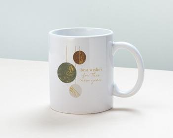 Mug entreprise 2022 personnalisé Boules de Noël, Kaki, Choco