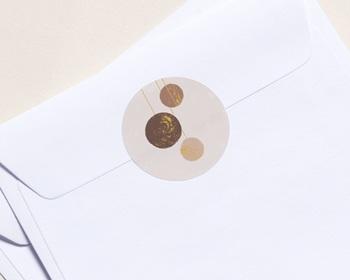 Autocollant Enveloppe Entreprise Personnalisé Boules de Noël, Terracotta & Dorure