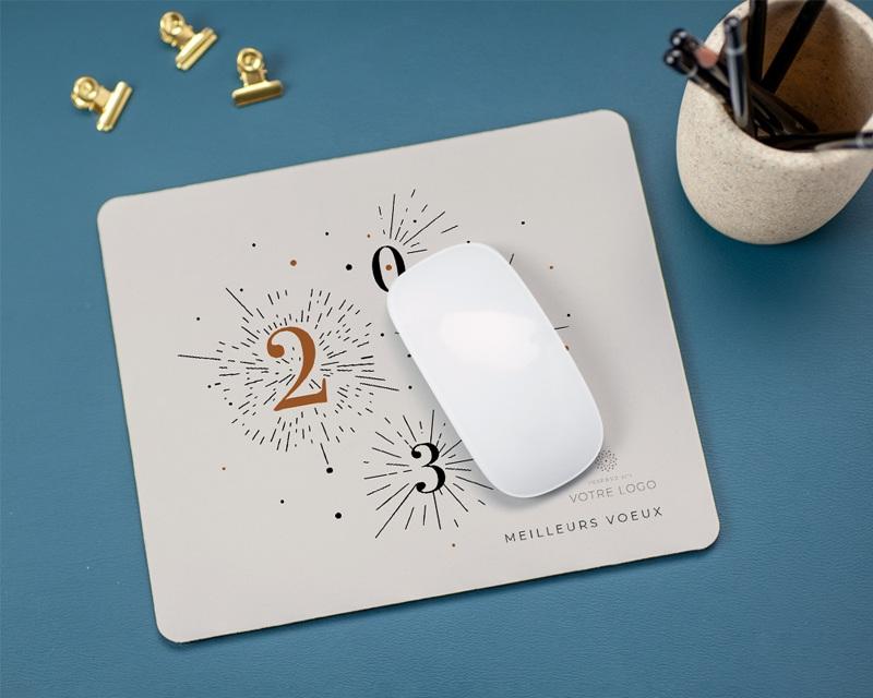 Tapis de souris entreprise personnalisé Bonheur Festif gratuit