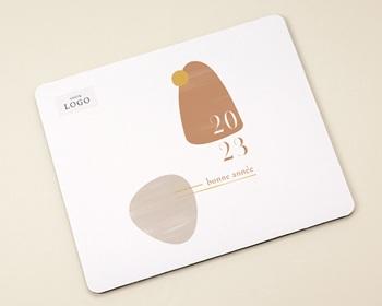 Tapis de souris entreprise personnalisé Zen, sable & terracotta