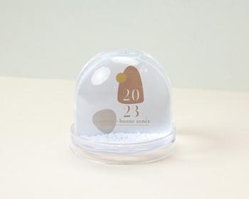 Boule à Neige entreprise 2022 Personnalisée Zen, sable & terracotta