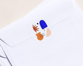 Autocollant Enveloppe Entreprise Personnalisé Couleurs de méditerranée, Inspi Matisse