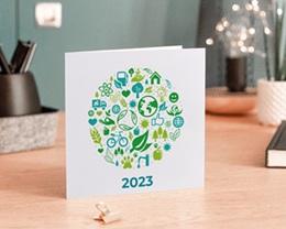 Carte de voeux avec logo d'entreprise Écologique et vert gratuit