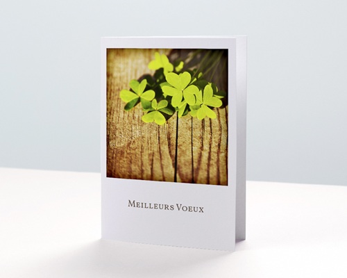 Carte de Voeux Entreprise Trèfles à 4 feuilles