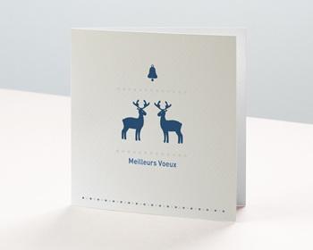 Carte de voeux entreprise - Petits rennes bleus - 1
