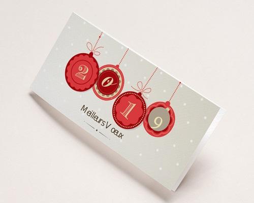 Carte de voeux entreprise - Boules de Noel
