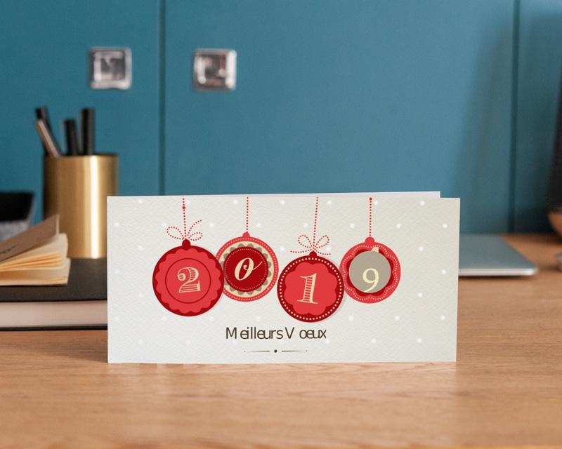 Carte de Voeux Entreprise Boules de Noel gratuit