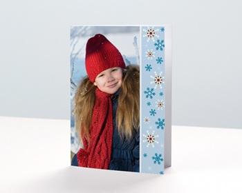 Carte de vœux particulier - Flocons bleus - 1