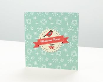 Carte de vœux particulier - Oiseau et Houx - 1