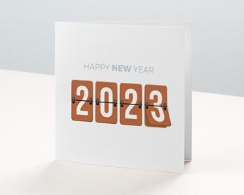 Carte de Voeux Entreprise Compteur Nouvel An personnalisable
