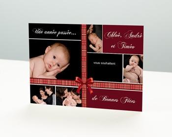 Carte de vœux particulier - Ruban Rouge de Noel - 1