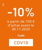 10% dès 100€ d'achat avant le 30.11.20
