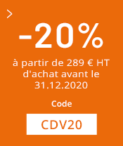 20% dès 289€ d'achat avant le 31.12.20