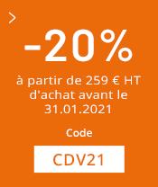 20% dès 259€ d'achat avant le 31.01.21